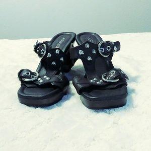 Aerosoles brown leather wedge sandals